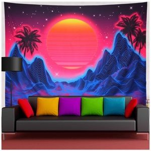 Abstract Wave Sun Stars Tapestry Colorful Sunrise